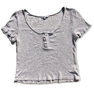 CHARLOTTE RUSSE Crop Top Ribbed Grey Size Medium